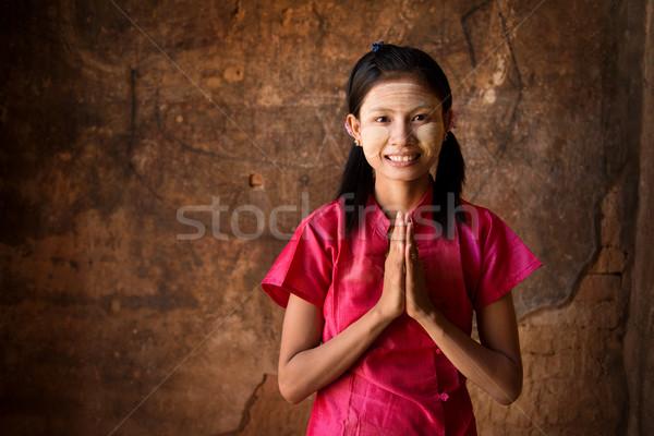 молодые Мьянма девушки молиться женщину традиционный Сток-фото © szefei