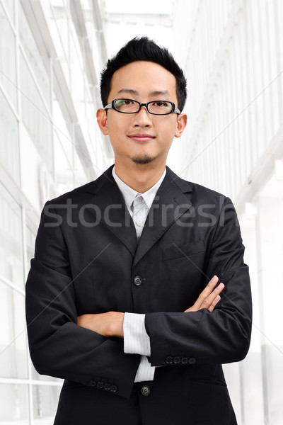 Photo stock: Asian · affaires · costume · complet · permanent · bâtiment · moderne