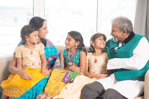 Indian family indoors portrait Stock photo © szefei