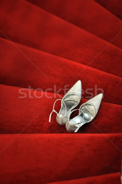 Chaussures blanche tapis rouge mode design Photo stock © szefei