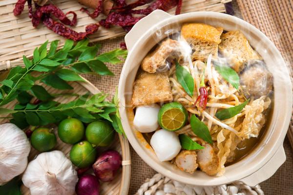 Curry forró fűszeres szingapúri tészta gőz Stock fotó © szefei