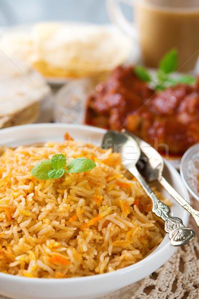 индийская кухня риса курица карри ресторан таблице молоко Сток-фото © szefei