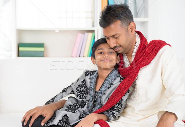 Stock photo: Indian father and son