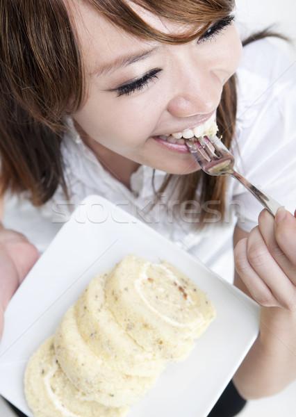 Enjoying cake Stock photo © szefei