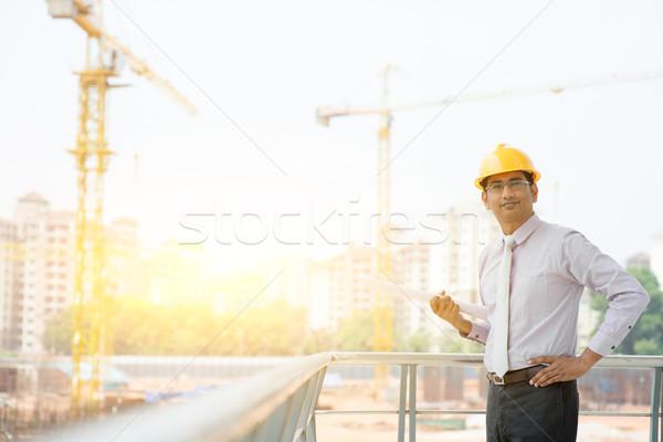 Asian Indian male site contractor engineer portrait Stock photo © szefei
