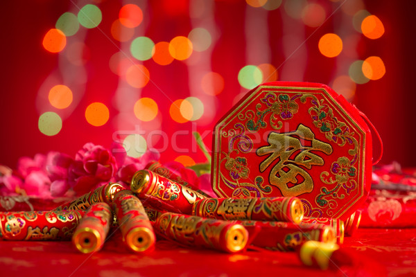 Chinese New Year decorations firecrackers Stock photo © szefei