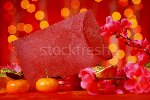 Chinese New Year objects in red background Stock photo © szefei