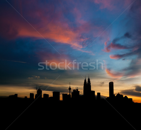 силуэта Куала-Лумпур сумерки небе служба Сток-фото © szefei