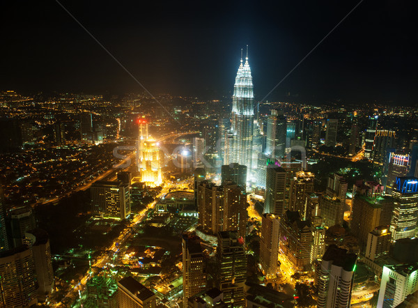 Aerial View Kuala Lumpur city skyline in night Stock photo © szefei