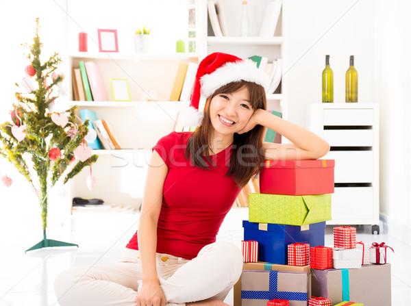 Stok fotoğraf: Noel · hazırlık · mutlu · Asya · kadın