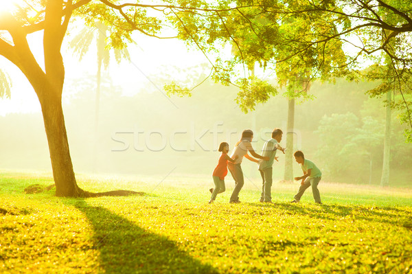 Stock photo: Asian family outdoor quality time