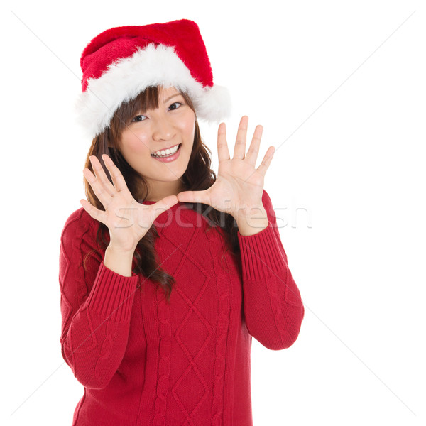 Happy Christmas woman say hello  Stock photo © szefei