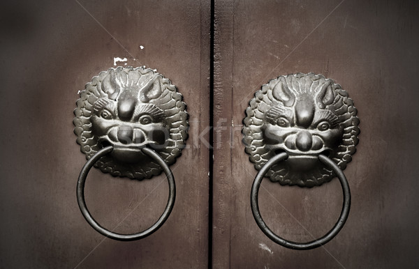 Feng shui drzwi klasyczny ochrony leczyć domu Zdjęcia stock © szefei
