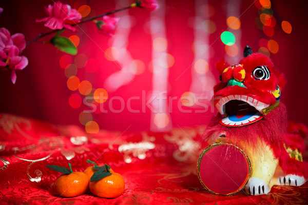 Chinese New Year decorations on red background Stock photo © szefei