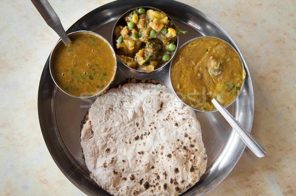 Hint yemek geleneksel hint mutfağı vejetaryen hizmet Stok fotoğraf © szefei