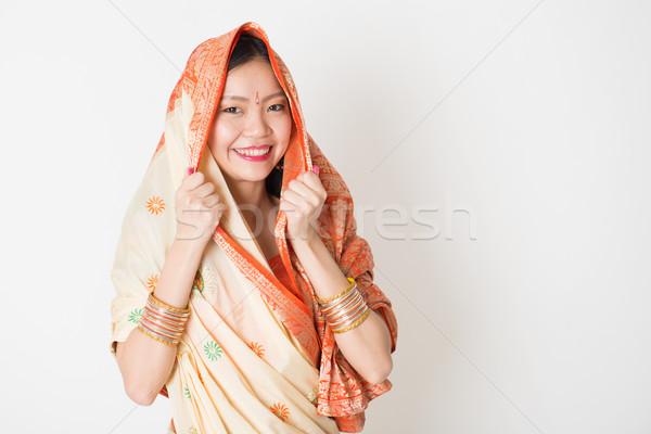 Young girl in Indian sari dress Stock photo © szefei