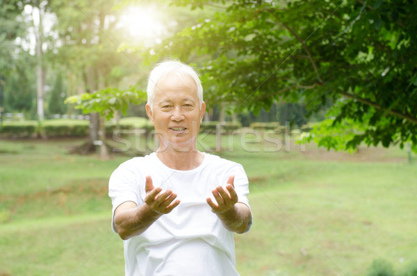 Senior man practicing qigong in the park  Stock photo © szefei