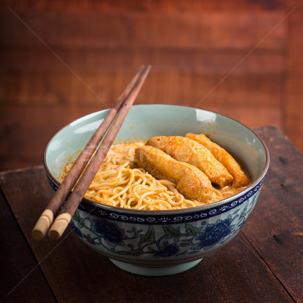 Hot and Spicy Curry Laksa Noodles Asian food Stock photo © szefei