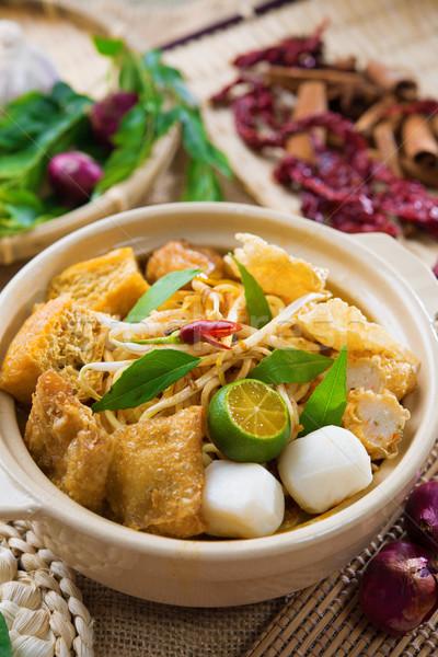 Szingapúri curry tészta forró fűszeres agyag Stock fotó © szefei