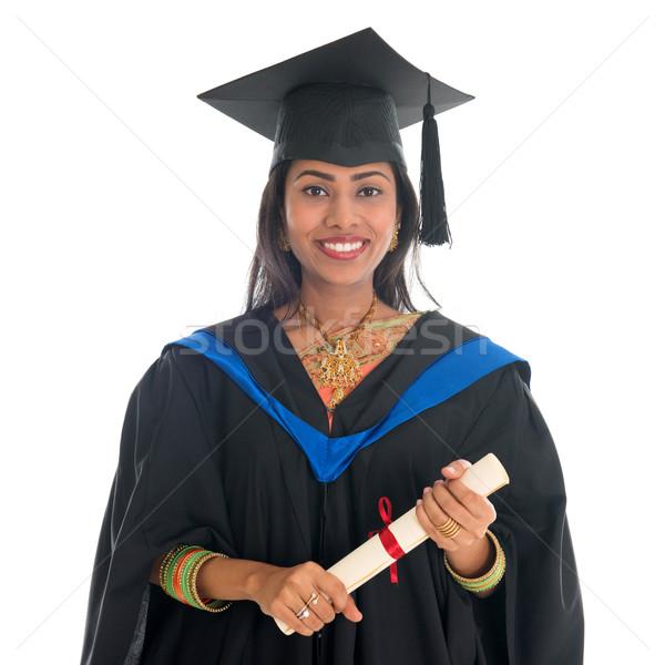 Boldog indiai egyetemi hallgató érettségi talár sapka Stock fotó © szefei