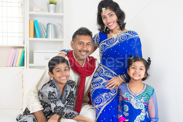 Portrait of happy Indian family Stock photo © szefei
