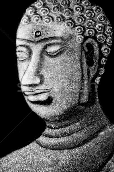 Foto stock: Buda · pedra · zen · preto · e · branco · arte