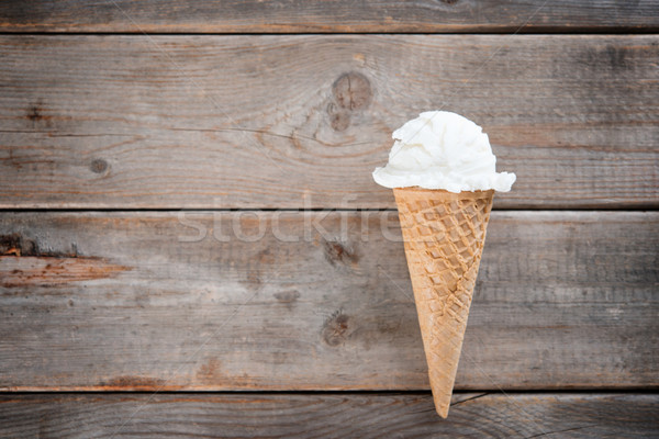 Top view vanilla ice cream cone Stock photo © szefei