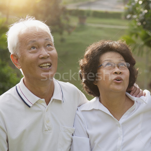 Asian seniors couple looking up Stock photo © szefei