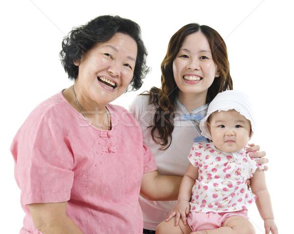 Három generációk ázsiai családi portré boldog család Stock fotó © szefei