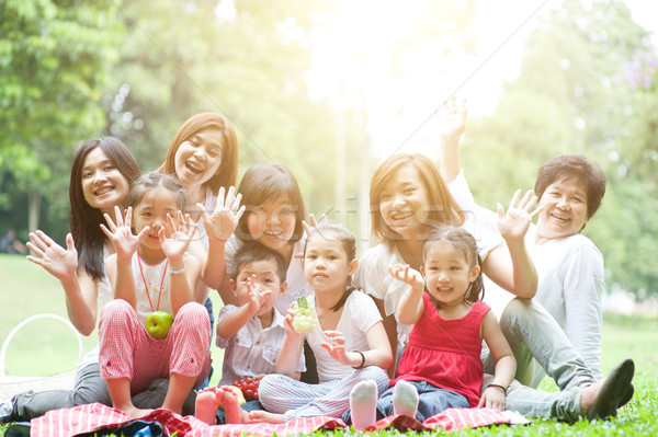 Asian generaties familie outdoor leuk groep Stockfoto © szefei