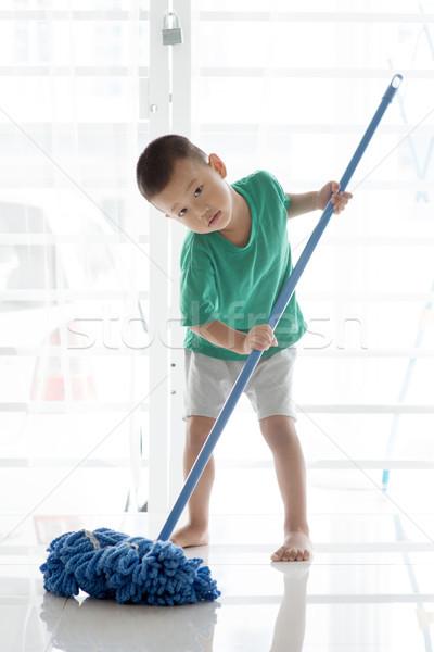 Stockfoto: Asian · kind · vloer · jongen · schoonmaken · jonge
