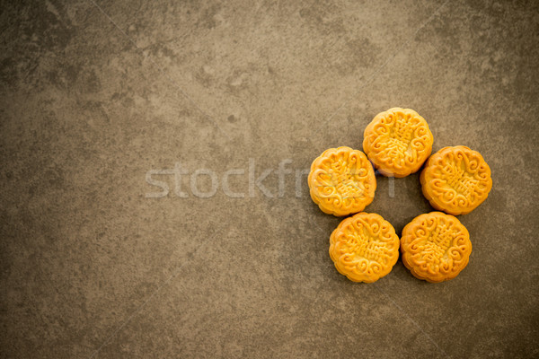 Mooncakes on dark background with copy space Stock photo © szefei