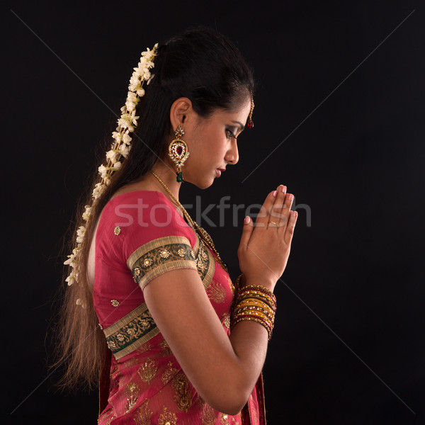Indian woman prayer Stock photo © szefei