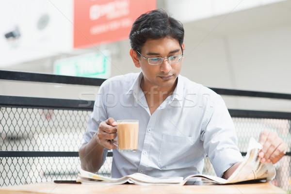 オフィス 昼休み アジア インド ビジネスマン 読む ストックフォト © szefei