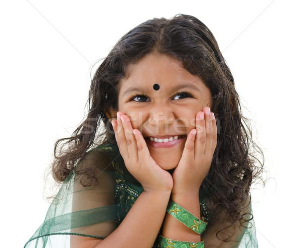 Aranyos indiai lány fiatal kicsi ázsiai Stock fotó © szefei