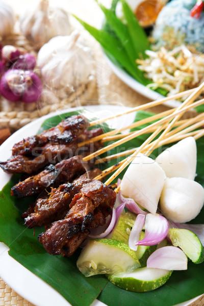 Satay daging. Stock photo © szefei