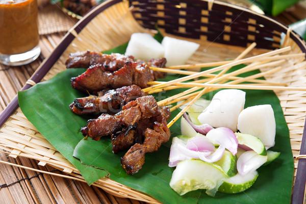 Satay  grilled meat Stock photo © szefei