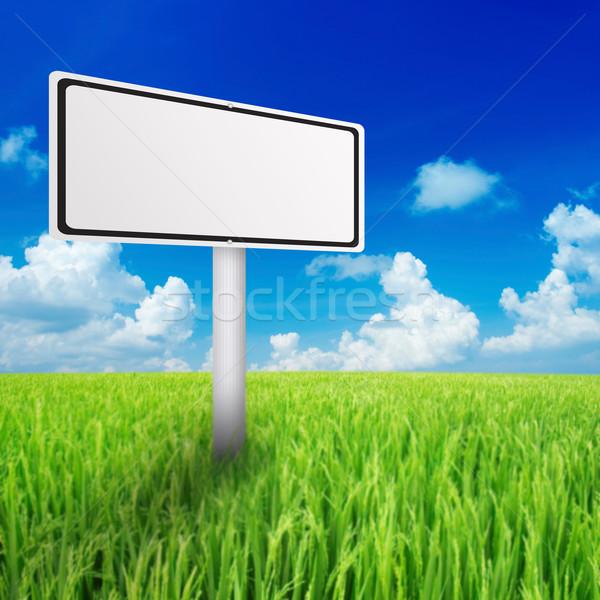 óriásplakát zöld mező égbolt nyár űr Stock fotó © szefei