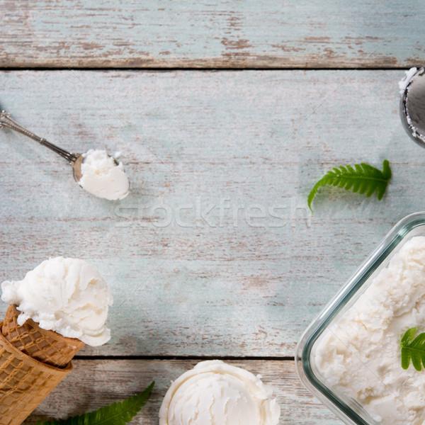 Kokosnoot ijs wafeltje kegel top Stockfoto © szefei