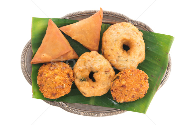 Delicious Indian snack platter Stock photo © szefei