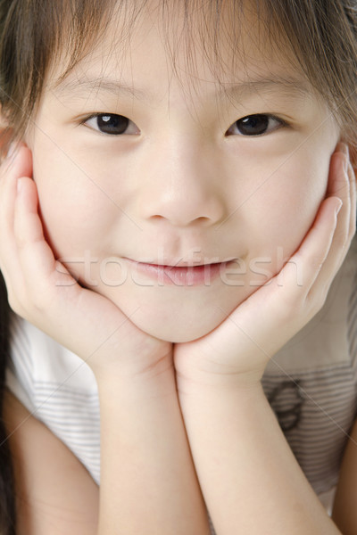 Foto d'archivio: Asian · ragazza · primo · piano · shot · giovani · sorriso