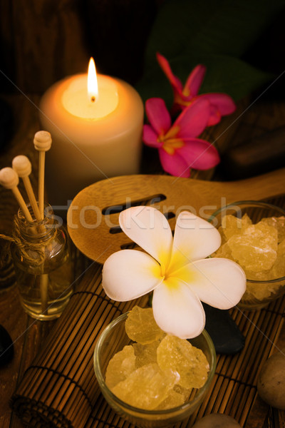 Spa and wellness setting with natural salt Stock photo © szefei