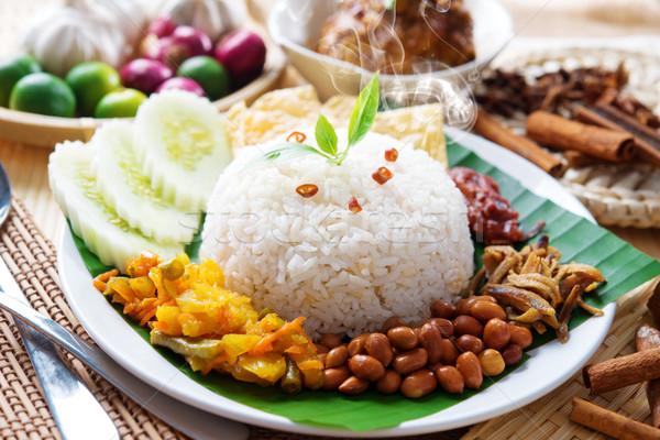 Nasi lemak malaysian dish Stock photo © szefei