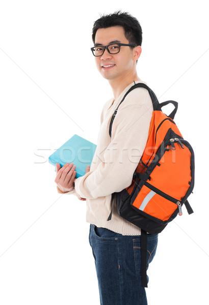 ázsiai felnőtt férfi diák jóképű lezser Stock fotó © szefei