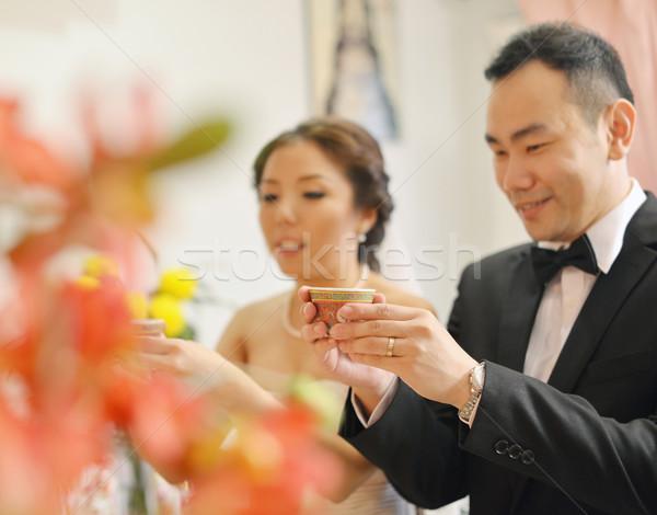 Tradicional chino boda té ceremonia novia Foto stock © szefei