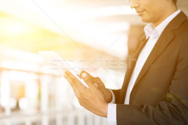 Stockfoto: Zakenman · treinstation · indian · zakenman · wachten