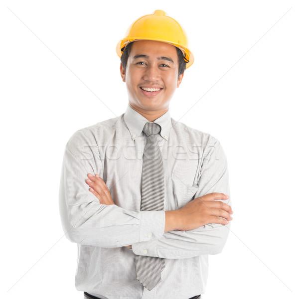 Sudeste asiático engenheiro retrato atraente amarelo Foto stock © szefei