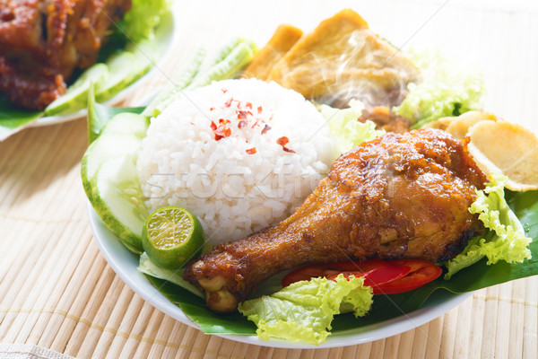 Malay food nasi ayam penyet Stock photo © szefei