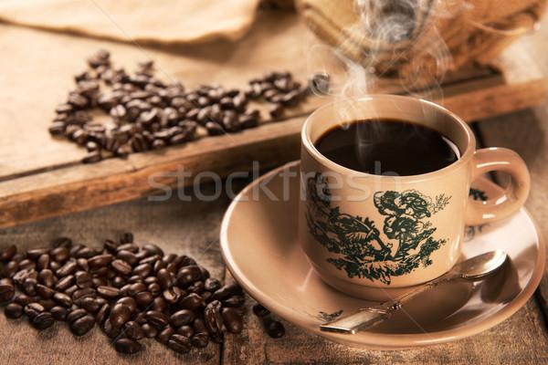 Traditional kopitiam style Hainan coffee in vintage mug Stock photo © szefei