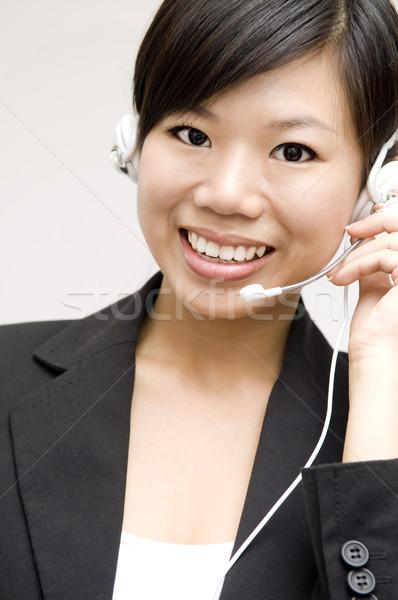 Müşteri temsilci dostça kulaklık gülen telefon Stok fotoğraf © szefei